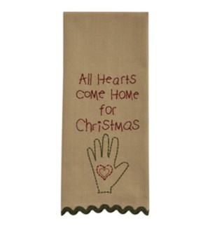 ALL HEARTS EMBROIDERED DISHTOWEL
