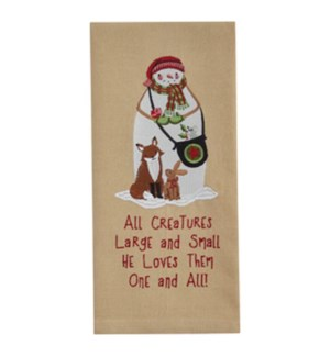 ALL CREATURES EMBROIDERED DISHTOWEL