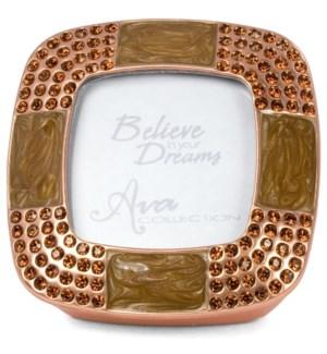 "AV - Copper Topaz Frame & Box - Copper with Smoked Topaz. Holds 1.5"" x 1.5"" Photo"