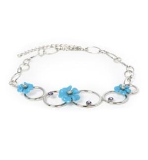 "AV - Tanzanite Necklace - 18.25"" Blue Flowers & Silver Circles"