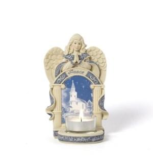 "AS - Angel w/Church Scene - 6"" Angel w/Tea Light Holder"