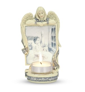 "AS - Angel with Child Praying - 6"" Angel Tea Light Holder"