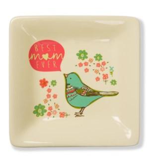 "AML - Best Mom Ever - 4.5"" Ceramic Keepsake Saucer"