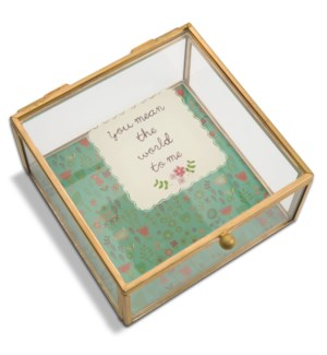 "AML - You Mean The World To Me - 4.25"" x 4.25"" Glass Keepsake Box"
