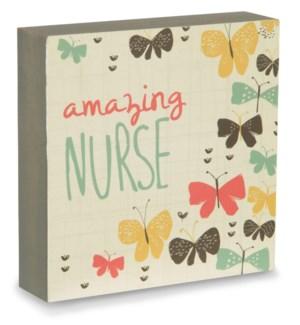 "BAW - Amazing Nurse - 4"" x 4"" Plaque"