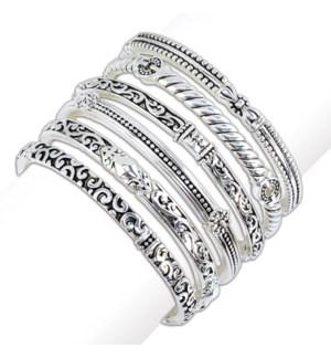 Bracelet-Assort of 6 Silver Bangles