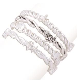 Bracelet-Assort 4 Silver Coastal