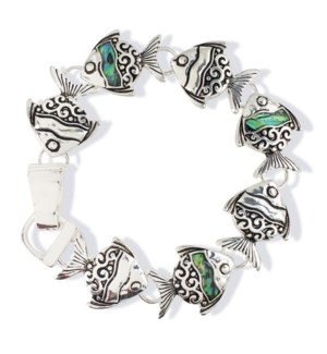 Bracelet-Abalone Linked Fish