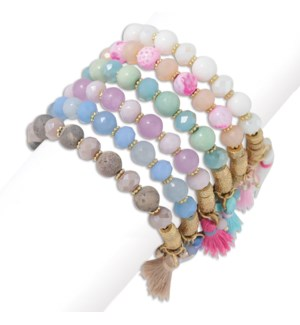 Bracelet-6 pce Assort Beaded Multi