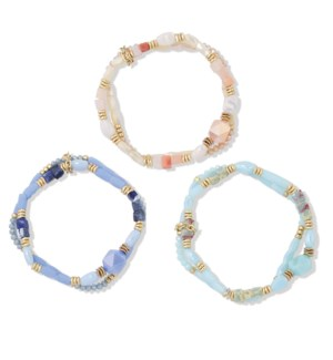 Bracelet-Assort 3 pce Faceted Beads