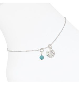 Anklet-Sand Dollar and Turquoise