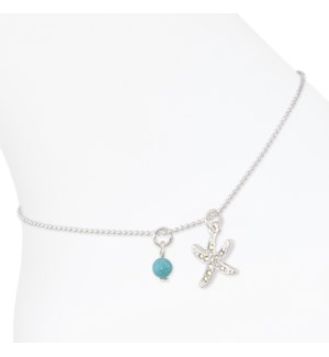 Anklet-Silver Crystal Starfish