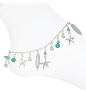 Anklet-Silver Starfish w Mint Beads