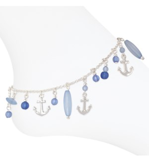 Anklet-Silver Anchors w Blue Beads