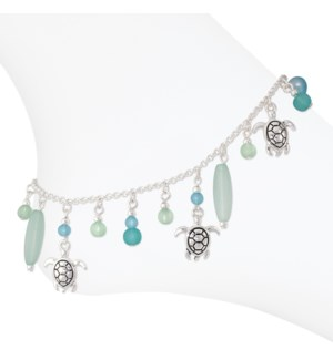 Anklet-Silver Turtles w Mint Beads