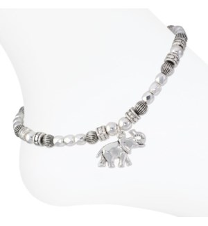 Anklet-Silver beaded w elephant