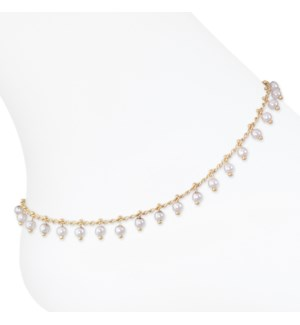 Anklet-Gold w pearl bead detail