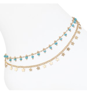 Anklet-Gold w turq beads and stars