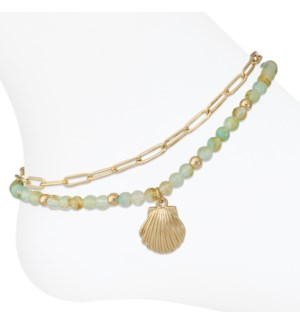 Anklet-Layered gold links w shell