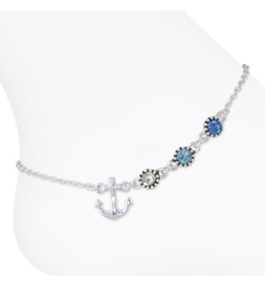 Anklet-Anchor w/ Blue Stones