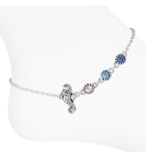 Anklet-Seahorse w Blue Crystals
