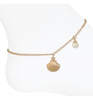 Anklet-Gold Shell w/ Pearl drop