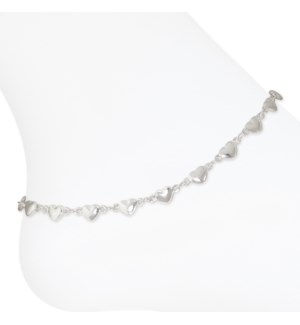 Anklet-Silver Hearts
