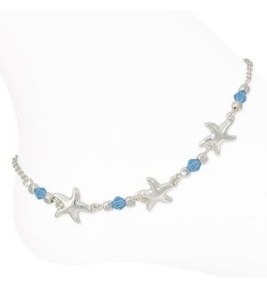 Anklet-Silver Starfish w Blue Beads