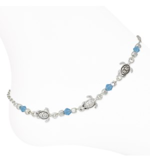Anklet-Silver Turtles w Blue Beads
