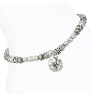 Anklet-Silver Beaded Sand Dollar