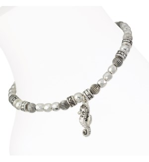 Anklet-Silver Beaded Seahorse