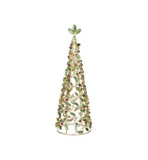 """*SB* 13.5"""" Holly Jeweled Tree"""