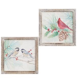 "*SB* 12.5"" Chickadee and Cardinal Framed Wall Art"