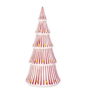 "*SB* 14"" Red Stripe Lighted Tree"