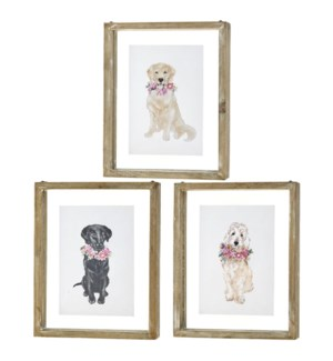 *SB* 10 Dog with Flowers Framed Print
