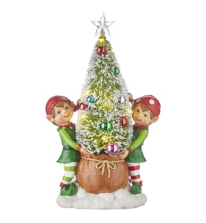 """13"""" Elves with lighted Tree"""