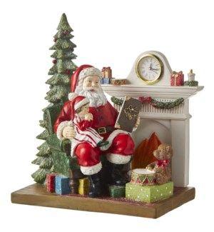 """11.75""""  Storytime Santa with Lighted Tree and Clock"""