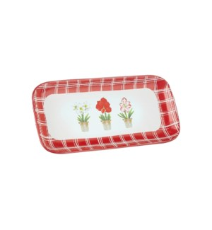 """10..25"""" Red Plaid Holiday Floral Platter"""
