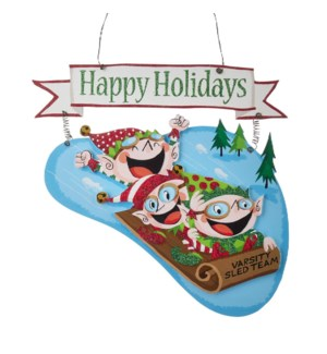 13.75 Elf Sledding Ornament