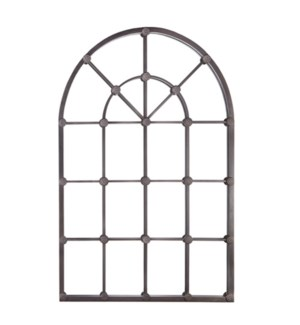 *DC* 53.25 Distressed Black Arched Windowpane Mirror