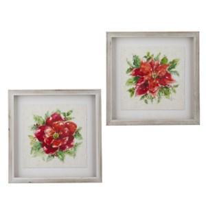 "16"" Poinsettia Shadowbox Framed Print"