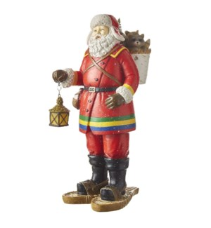 """14.25"""" Santa with Lighted Lantern and Snow Shoes"""