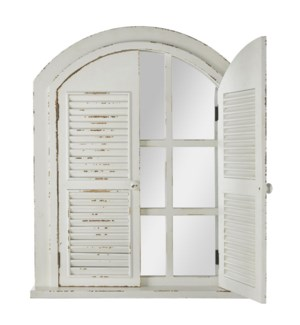 *DC* 34.25 Mirrored Window with Shutters Wall Decor