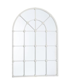 *DC* 53.25 Distressed White Arched Windowpane Mirror