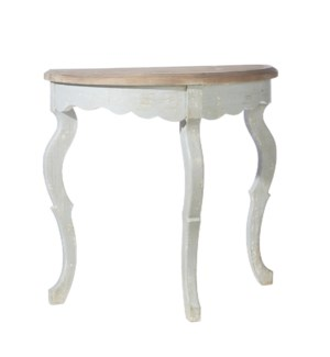 *DC* 34.75 Distressed Finish Demilune Table