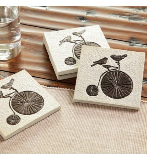 *Lovebirds on Bicycle Coasters