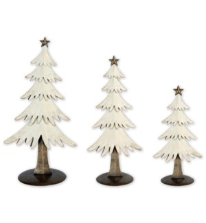 "9"",12"",14"" Snow Tree Table Top 3 piece set"