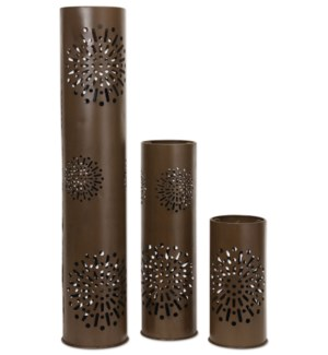 40in, 24in, 15in Starburst Hurricane Pillar Candle Holder, 3