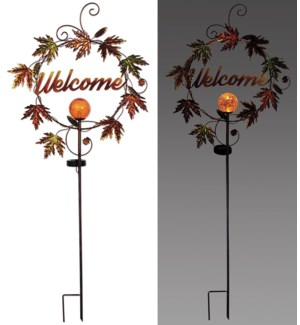 """""""Welcome"""" Leaves Solar Stake 44"""""""