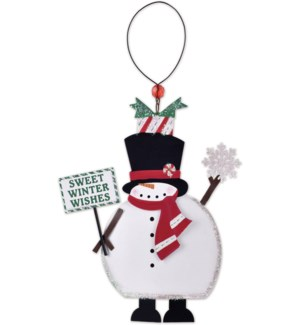 """""""Sweet Winter Wishes? Snowman Ornament"""
